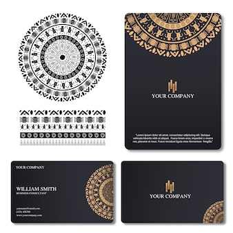 Elegant and luxury business card with mandala ornament