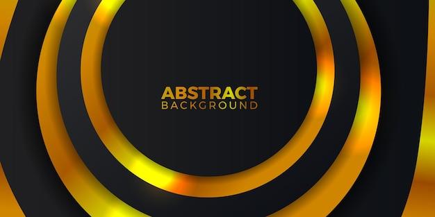 金色の輝きの色の背景を持つエレガントで豪華なダークブラックの丸い円