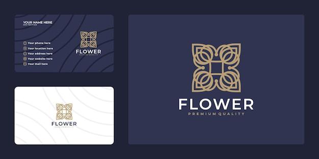 エレガントで豪華な花のロゴデザインと名刺デザイン