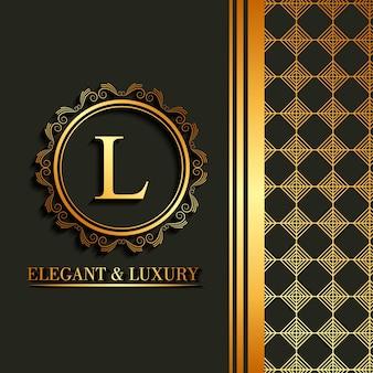 Elegant and luxury font round frame decoration geometric