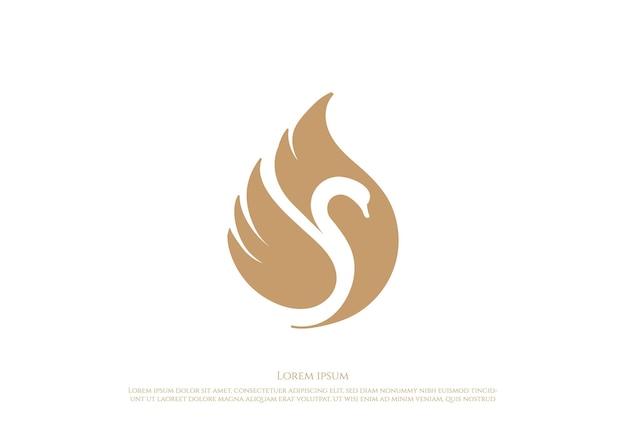 Elegant luxury golden swan logo design vector