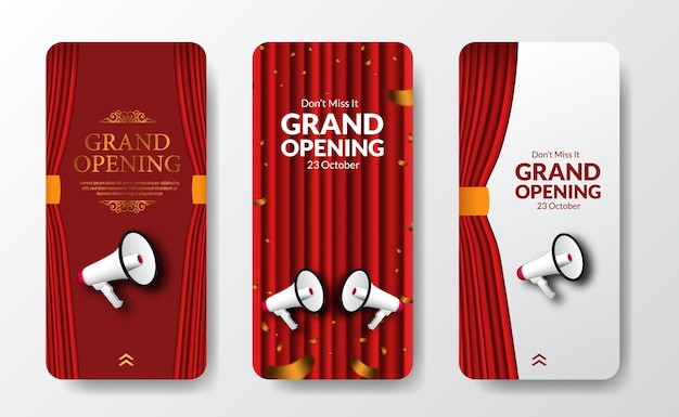 Elegant luxury grand opening or reopening event social media stories template for announcement marketing with red curtain stage and bullhorn speaker