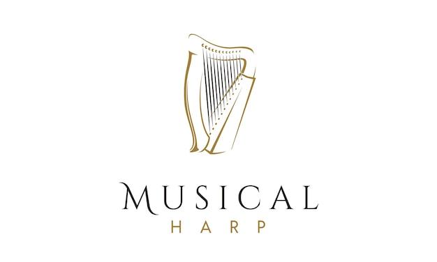Elegant and luxury harp instrument logo design