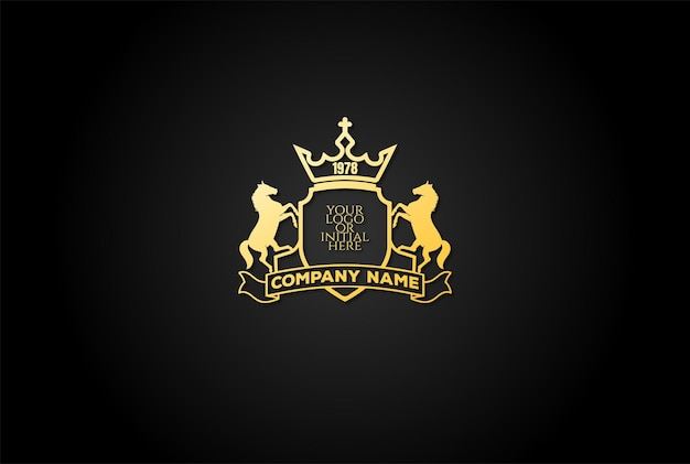 Elegant luxury horse stallion shield badge emblem crest logo design vector