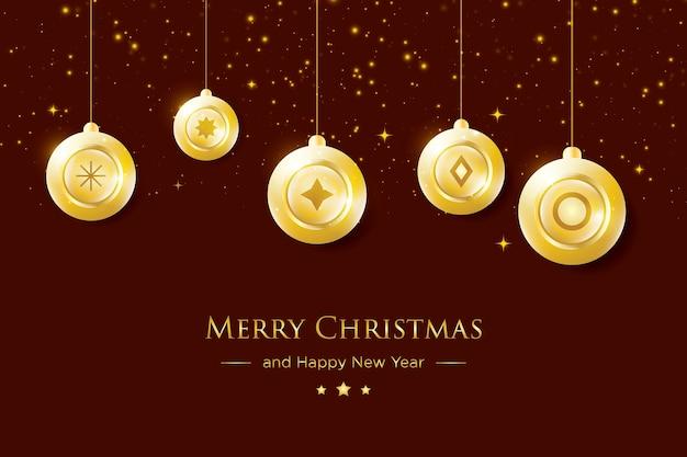 골든 볼 장식으로 우아한 럭셔리 메리 크리스마스 인사말 카드