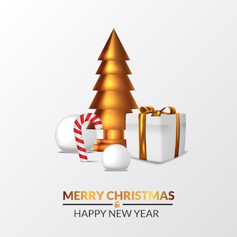 Elegant luxury merry christmas and happy new year. illustration of 3d sculpture golden pine christmas tree with snowball, present box, and candy cone.