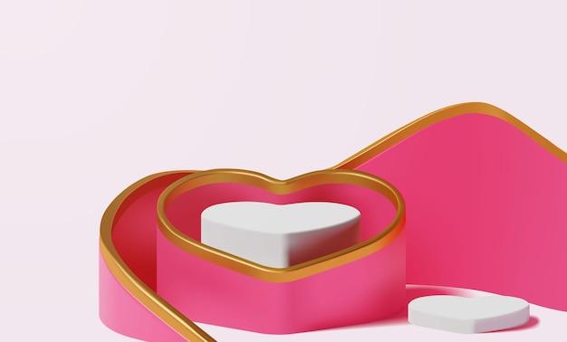우아한 럭셔리 핑크와 골드 빈 심장 모양의 연단 장면