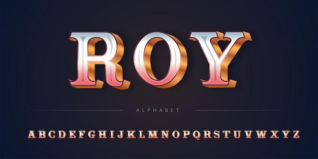 エレガントで豪華なレトロなゴールデンローズテーマアルファベットセット