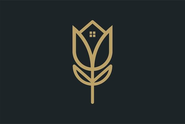 Элегантный роскошный цветок тюльпана розы с домом для вектора дизайна логотипа недвижимости