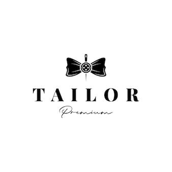 우아한 고급 재단사, 바느질 바늘과 나비 넥타이가 있는 패션 로고 디자인 벡터