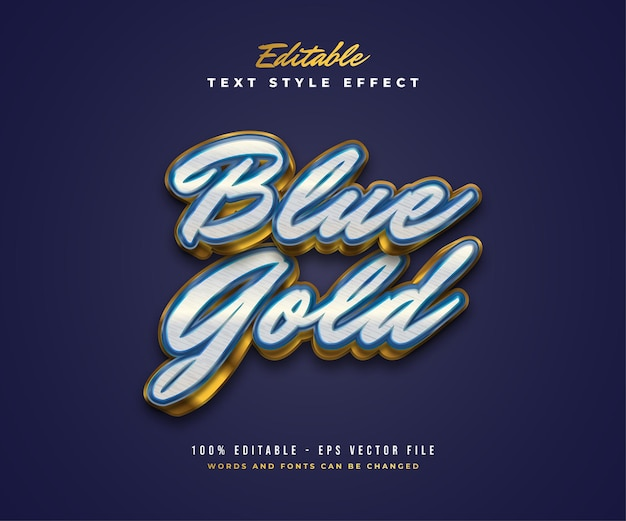 Elegant luxury text style in white, blue and gold with texture and embossed effect