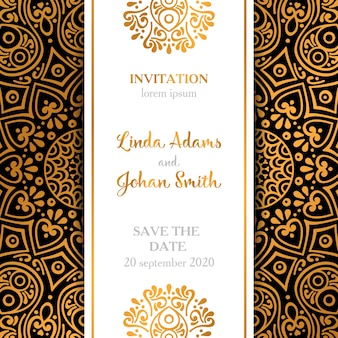 Elegant luxury wedding invitation in mandala style