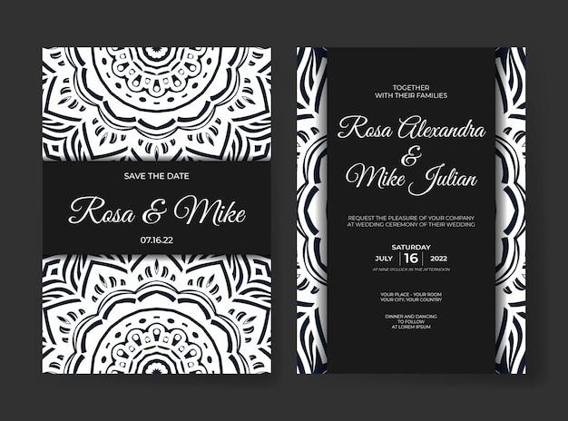 曼荼羅の飾りの装飾が施されたエレガントで豪華な結婚式の招待状