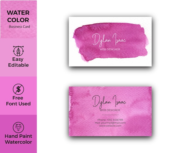 Elegant magenta abstract watercolor business card template