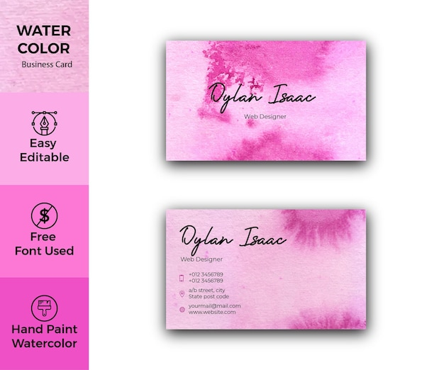 Elegant magenta watercolor business card template