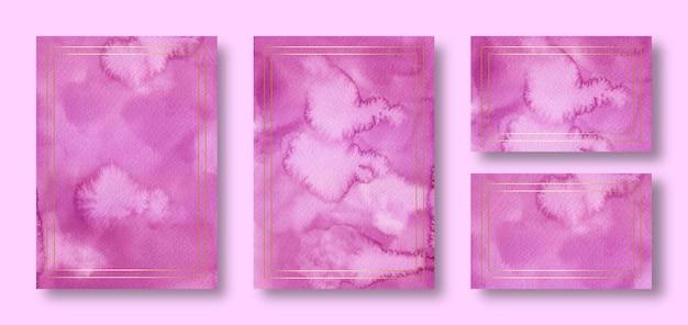 Элегантный пурпурный акварельный шаблон свадебной открытки с золотой рамкой