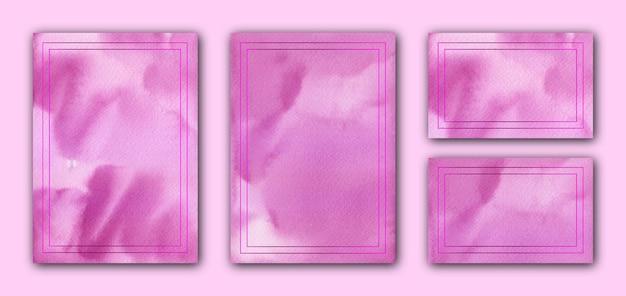 Элегантный пурпурный акварельный шаблон свадебной открытки с пурпурной рамкой