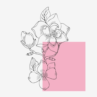 Elegant magnolia flower in a linear style. natural print, isolated on a white background.