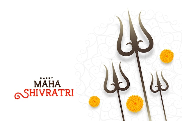 Elegant maha shivratri festival card with trishul design