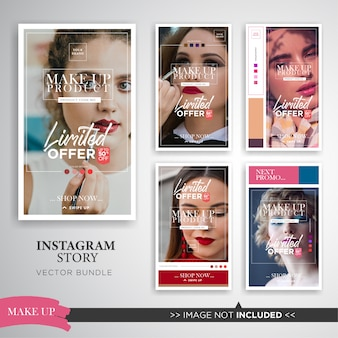Elegant make up product sale instagram stories set