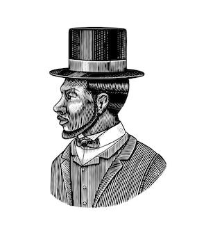 Элегантный мужчина с мужским лицом афро-американские джентльмены в цилиндрической шляпе викторианской эпохи, мода и одежда