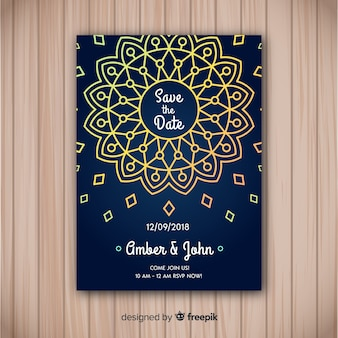 Elegant mandala concept wedding invitation