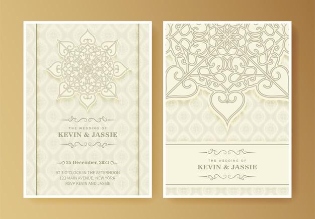 エレガントなマンダラの結婚式の招待カードのテンプレートデザイン