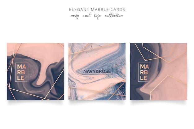 ネイビーとローズカラーのエレガントなマーブルカード 無料ベクター
