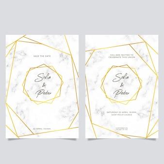 황금 세부 사항 가진 우아한 대리석 결혼식 초대장 템플릿