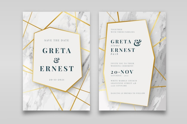 Elegant marble wedding invitation template with golden details