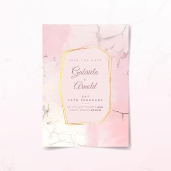 Elegant marble wedding invitation template