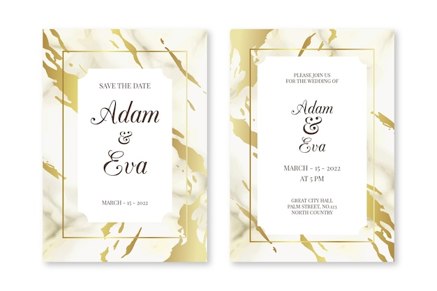 Elegant marble wedding invitation template