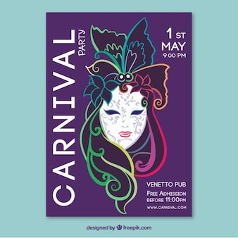 Elegant mask carnival poster