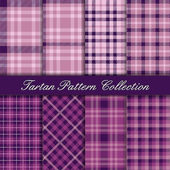 Elegant mauve and purple collection of tartan seamless patterns