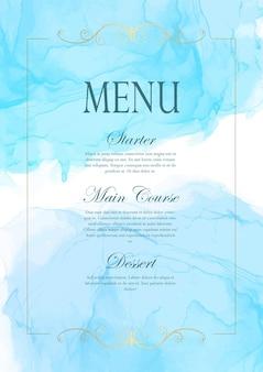 Элегантный дизайн меню с ручной росписью акварелью и золотой рамкой
