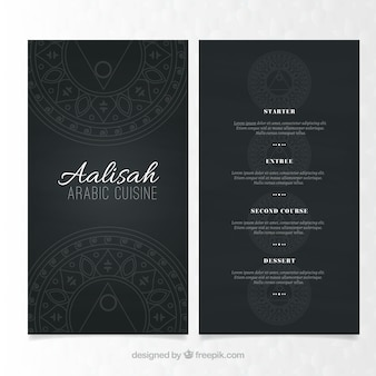 Elegant menu template of arabic food
