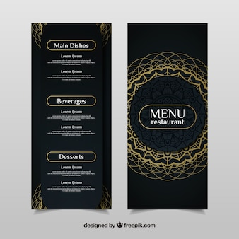 Элегантный шаблон меню с золотой мандалой