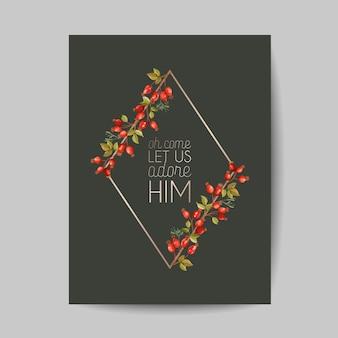 Элегантные открытки с рождеством и новым 2021 годом с сосновыми ветками, святой ягодой, омелой, зимними цветочными растениями дизайн иллюстрации для поздравлений, приглашения 2020, флаера, брошюры, обложки в векторе