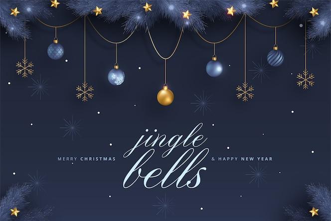 파란색과 황금 장식으로 우아한 메리 크리스마스와 새 해 카드