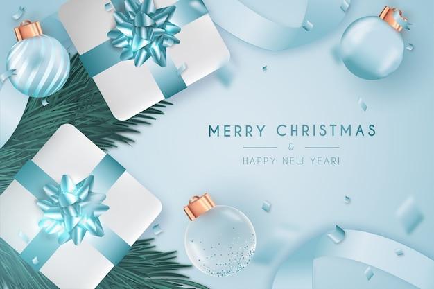 パントンデザインのエレガントなメリークリスマスと新年のカード