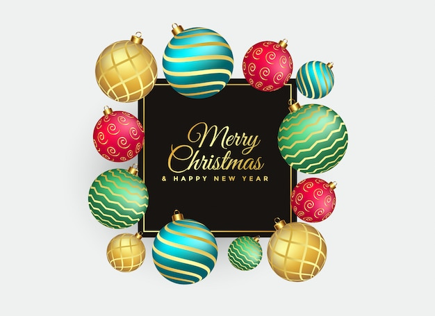 Elegant merry christmas background with balls decoration