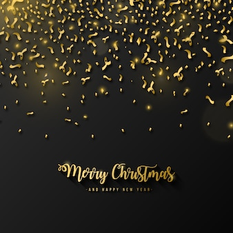 Elegant Merry Christmas background with golden confetti