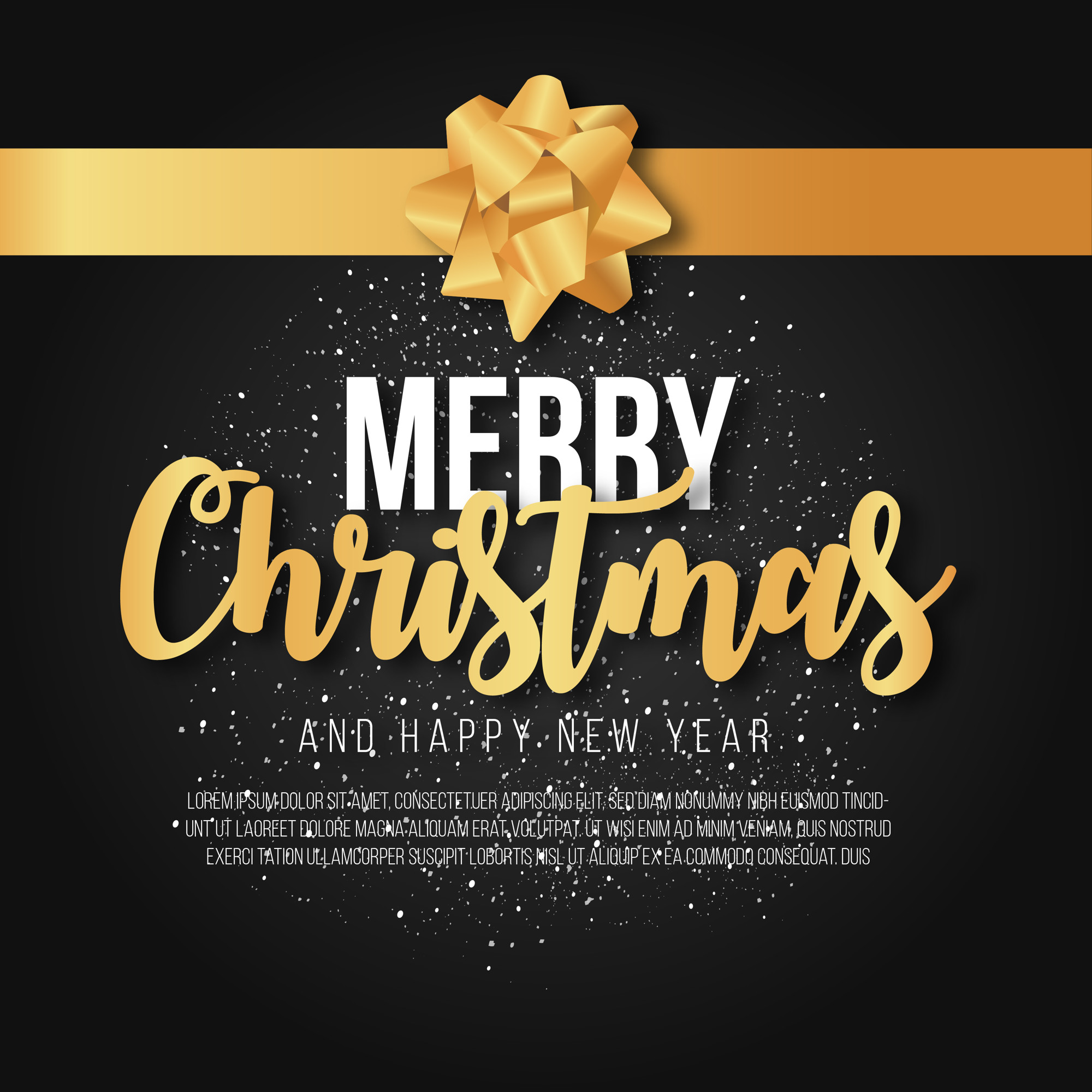 Elegant Merry Christmas Background with Golden Ribbon