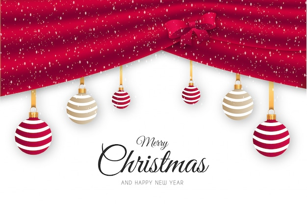 Elegant merry christmas background with red courtain