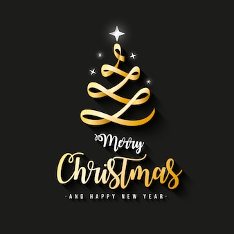Elegant Merry Christmas Banner with gold ribbon