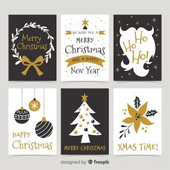 Elegant merry christmas card collection in black and gold