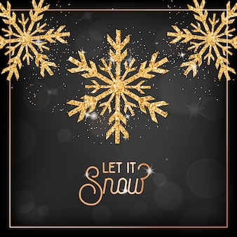 Elegant merry christmas card with gold snow flakes and glitter on black blurred background with let it snow typography. xmas or new year greeting postcard, invitation flyer or promo brochure design