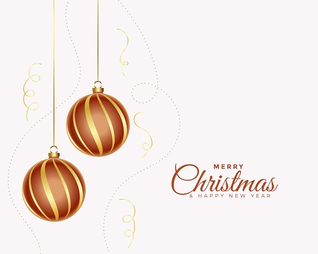Elegant merry christmas card with realistic ball