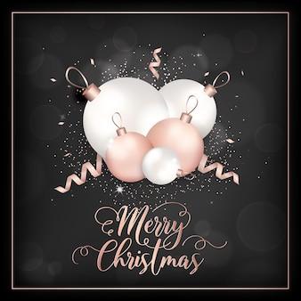 Элегантная рождественская открытка с елочными шарами из розового золота для приглашения, поздравления или флаера и новогодней брошюры 2019