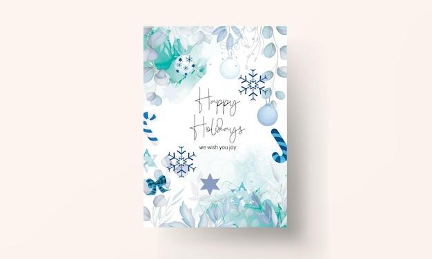 白いクリスマス飾りとエレガントなメリークリスマスカード